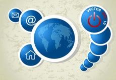 Hintergrund mit Weltkarte, Vektor Lizenzfreies Stockfoto