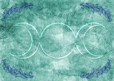 Hintergrund mit Wiccan-Göttin-Symbol Stockfotos