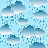 Hintergrund mit Wolken und Regentropfen Stockfotografie