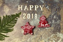 Hintergrund mit Wort 2018 guten Rutsch ins Neue Jahr Stockfotos