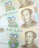 Hintergrund mit 20 Yuan-Rechnungen Stockbild