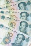 Hintergrund mit 10 Yuan-Rechnungen Stockfotos