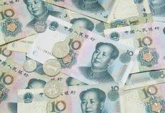 Hintergrund mit 10 Yuan-Rechnungen Lizenzfreies Stockfoto