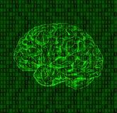 Hintergrund mit Zahlen und Gehirnskizze Stockfotografie