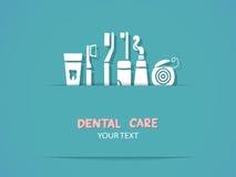 Hintergrund mit Zahnpflegesymbolen Stockfoto