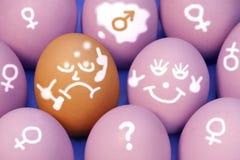 Hintergrund mit zehn gemalter Eiern, XXXL nahes hohes. Stockfotografie