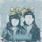Hintergrund mit zwei Schwestern mit Bögen Stockbilder