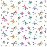 Hintergrund nahtloses a viele farbigen Insekten stock abbildung
