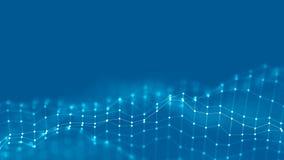 Hintergrund-Netzkonzept der Zusammenfassungs-3d Zukünftige Hintergrund Technologieillustration Landschaft 3d Große Daten Wirefram Stockfotos