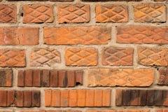 Hintergrund - orange alte Backsteinmauer Lizenzfreie Stockfotos