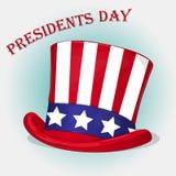 Hintergrund Präsidenten Day mit patriotischem Onkel Sam Hat Feiertagsplakat Stockfoto