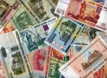 Hintergrund Russland-Rubel und Weißrussland-Rubel Lizenzfreie Stockfotografie