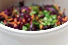 Hintergrund-Salat des Rotkohls mit Karotten und Spinat Stockfotos