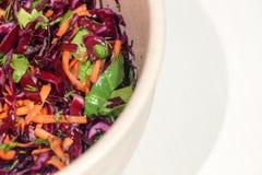 Hintergrund-Salat des Rotkohls mit Karotten und Spinat Stockfotografie