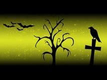 Hintergrund Scarry Halloween mit sillhouette altem Baum, Kreuz, Raben und Schlägern Stockfoto