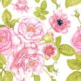 Hintergrund, schön, Blatt Nahtloses Blumenmuster im viktorianischen Stil Stockfotografie