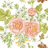 Hintergrund, schön, Blatt Nahtloses Blumenmuster im viktorianischen Stil Stockbild