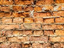 Hintergrund, sehr alte Backsteinmauerbeschaffenheit Stockbilder