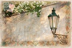 Hintergrund, stilisiert als Weinlesepostkarte Lizenzfreie Stockfotos