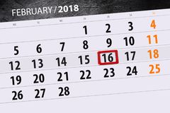 Hintergrund-täglicher Monats-Geschäfts-Kalender-Scheduler 2018 am 16. Februar Lizenzfreie Stockbilder
