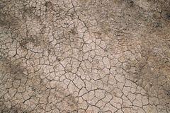 Hintergrund-trockener gebrochener Boden-Schmutz oder Erde während der Dürre Trockenes gebrochenes Lizenzfreie Stockbilder