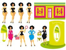 Hintergrund und Ikonen der Frau und des Mädchens am shoppi Stockfotos