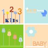 Hintergrund- und Logoaufkleber vier Kinder Stock Abbildung