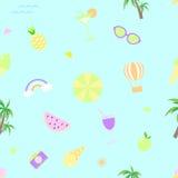 Hintergrund-Vektorillustration des nahtlosen Sommermusters blaue Stockbilder