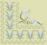 Hintergrund verziert mit blauer Iris Stockfoto