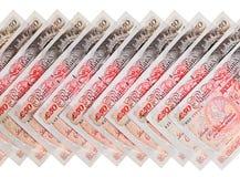 Hintergrund vieler 50 Pfundsterling-Banknoten Lizenzfreies Stockfoto