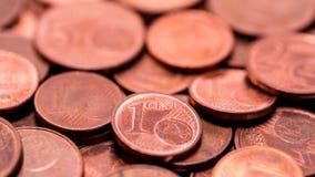 Hintergrund voll von Eurocents, Kupfermünze Lizenzfreies Stockbild