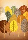 Hintergrund vom abstrakten Herbstwald auf altem Papier stock abbildung