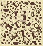 Hintergrund vom coffe und vom coffe Zubehör Stockfotografie