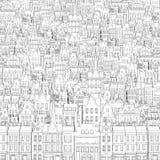 Hintergrund vom gezogenen schwarzen Entwurf von Gebäuden Stockfoto