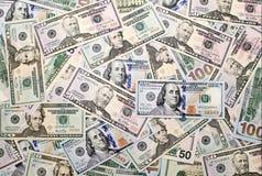 Hintergrund von amerikanischen Dollarbanknoten Stockfotografie