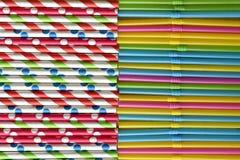 Hintergrund von ausgerichteten Papierstrohen gegen einzelner Plastikgebrauchs-Neonstrohe stockbild