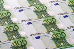 Hintergrund von Banknoten 100 Euros Stockfoto