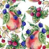 Hintergrund von Beerenhimbeeren, -brombeeren, -stachelbeeren und -birnen Nahtloses Muster Stockfotografie