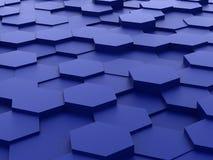 Hintergrund von blauen Blöcken des Hexagons 3d Lizenzfreie Stockfotografie