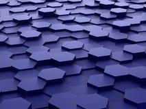 Hintergrund von blauen Blöcken des Hexagons 3d Stockbild