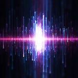 Hintergrund von blauen und purpurroten Schallwellen stockbild
