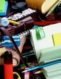 Hintergrund von Briefpapier-Einzelteilen Stockfotos
