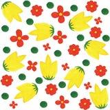 Hintergrund von bunten Blumen und von Kreisen Stockfotos