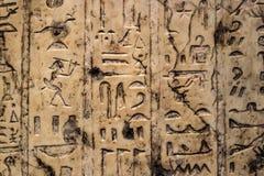 Hintergrund von den ägyptischen Hieroglyphen geschnitzt in den vertikalen Reihen in Elfenbein lizenzfreies stockbild