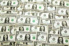 Hintergrund von den Eindollar Banknoten Stockfotos