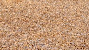 Hintergrund von den Holzspänen, die den Boden an einem Spielplatz umfassen stockfotografie