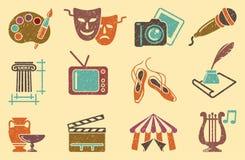 Hintergrund von den Ikonen von Künsten Stockfoto