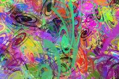 Hintergrund von den mehrfarbigen chaotischen Spiralen stockfotografie
