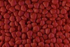Hintergrund von den roten glänzenden Herzen zerstreut in eine chaotische Art 3d stockbilder