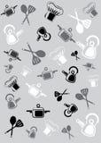 Hintergrund von den Waren und vom Zubehör für Küche Lizenzfreies Stockbild